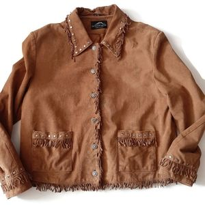 MONTANACO western fringe boho leather jacket. …